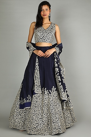 Midnight Blue Heavy Embroidered Lehenga Set by Sva By Sonam & Paras Modi
