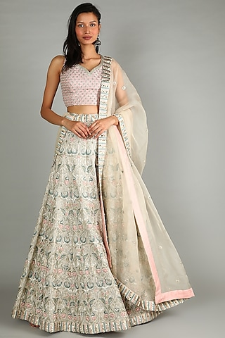 Beige Heavy Embellished Lehenga Set by Sva By Sonam & Paras Modi