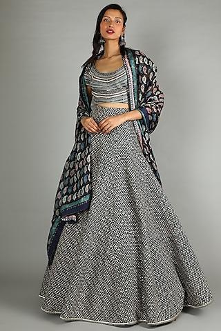 Midnight Blue Embroidered Lehenga Set by Sva By Sonam & Paras Modi
