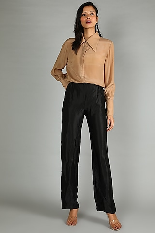 Beige Crepe Shirt With Gathered Sleeves by Sva By Sonam & Paras Modi