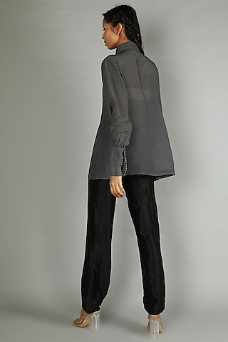 Grey Crepe Shirt With Gathered Sleeves by Sva By Sonam & Paras Modi