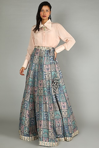 Blue & Blush Pink Printed Lehenga With Shirt by Sva By Sonam & Paras Modi