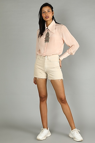 Blush Pink Shirt With Gathered Sleeves by Sva By Sonam & Paras Modi