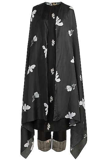 Black Embroidered Kurta With Pants & Printed Cape by Arya by SVA