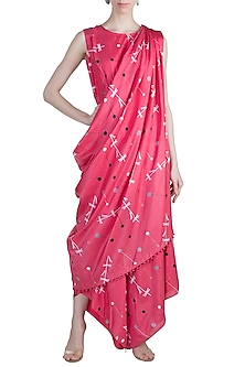 Red Printed Jumpsuit With Attached Drape by Arya by SVA