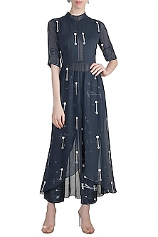 Midnight Blue Embroidered Kurta With Cigarette Pants by Arya by SVA