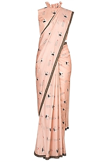 Nude Embroidered Printed Saree Set by Arya by SVA