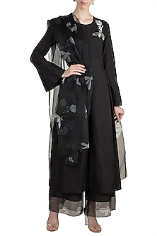 Black Embroidered Printed Kurta Set by Arya by SVA