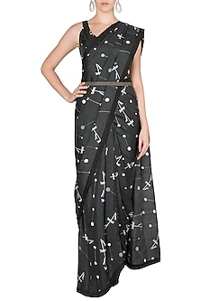 Black Printed Saree Set With Belt by Arya by SVA