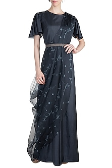 Midnight Blue Jumpsuit With Embroidered Printed Drape by Arya by SVA
