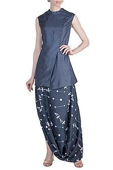 Navy Blue Kedia Jacket With Printed Drape Skirt by Arya by SVA