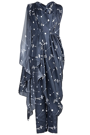 Midnight Blue Crop Top With Printed Attached Drape & Pants by Arya by SVA
