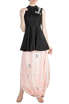 Black Embroidered Top With Nude Printed Drape Skirt by Arya by SVA