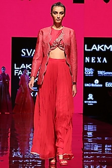 Strawberry Pink Embroidered Blouse With Palazzo Pants & Jacket by SVA BY SONAM & PARAS MODI