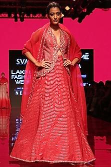 Strawberry Pink Embroidered Jacket Lehenga Set by SVA BY SONAM & PARAS MODI