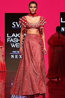 Strawberry Pink Embroidered Lehenga Set by SVA BY SONAM & PARAS MODI
