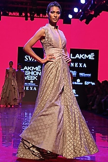 Grey Embroidered Corset Jacket With Lehenga Skirt by SVA BY SONAM & PARAS MODI