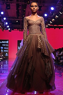 Grey Embroidered Layered Lehenga Skirt With Blouse & Corset by SVA BY SONAM & PARAS MODI