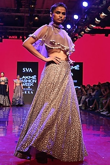 Grey Embroidered Crop Top With Lehenga Skirt by SVA BY SONAM & PARAS MODI