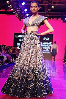 Royal Blue Embroidered Blouse With Lehenga Skirt by SVA BY SONAM & PARAS MODI