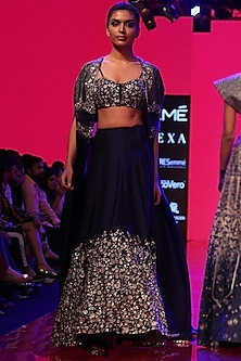 Royal Blue Embroidered Cape Lehenga Set by SVA BY SONAM & PARAS MODI