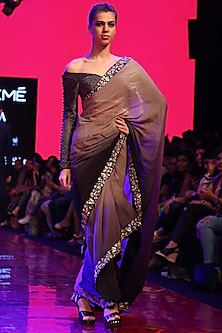 Grey Embroidered Ombre Cascade Saree Set by SVA BY SONAM & PARAS MODI