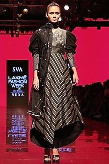 Black Embroidered Angrakha Anarkali Set by SVA BY SONAM & PARAS MODI