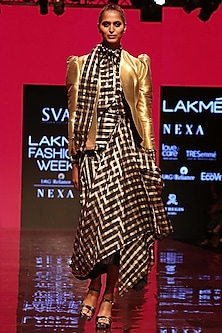 Black & Gold Jacket Lehenga Set With Shirt by SVA BY SONAM & PARAS MODI