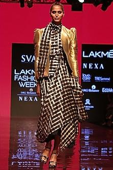 Black & Gold Jacket Lehenga Set With Shirt by SVA BY SONAM & PARAS MODI