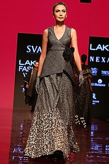 Black Peplum Jacket With Embroidered Lehenga Skirt by SVA BY SONAM & PARAS MODI