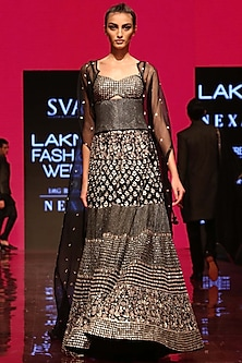Black Embroidered Cape Lehenga Set With Corset by SVA BY SONAM & PARAS MODI
