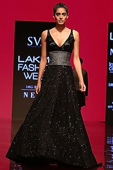 Black Embroidered Blouse With Lehenga Skirt & Corset by SVA BY SONAM & PARAS MODI
