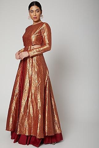 Maroon Dyed Kurta With Lehenga by SVA BY SONAM & PARAS MODI