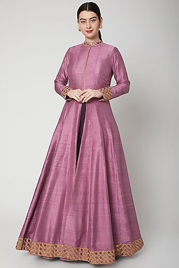 Mauve Embroidered Jacket With Purple Inner by SVA BY SONAM & PARAS MODI