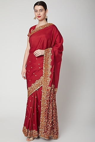 Red Embroidered Saree Set by SVA BY SONAM & PARAS MODI