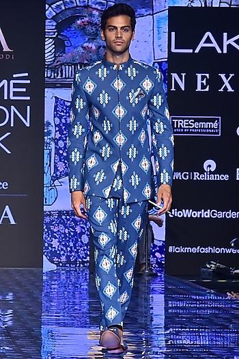 Blue Printed Bandhgala Jacket With Pants by SVA BY SONAM & PARAS MODI Men