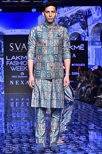Multi-Colored Patchwork Bundi Jacket by SVA BY SONAM & PARAS MODI Men
