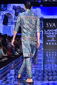 Multi-Colored Patchwork Bundi Jacket by SVA BY SONAM & PARAS MODI Men