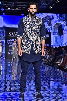 Midnight Blue Printed Bundi Jacket by SVA BY SONAM & PARAS MODI Men