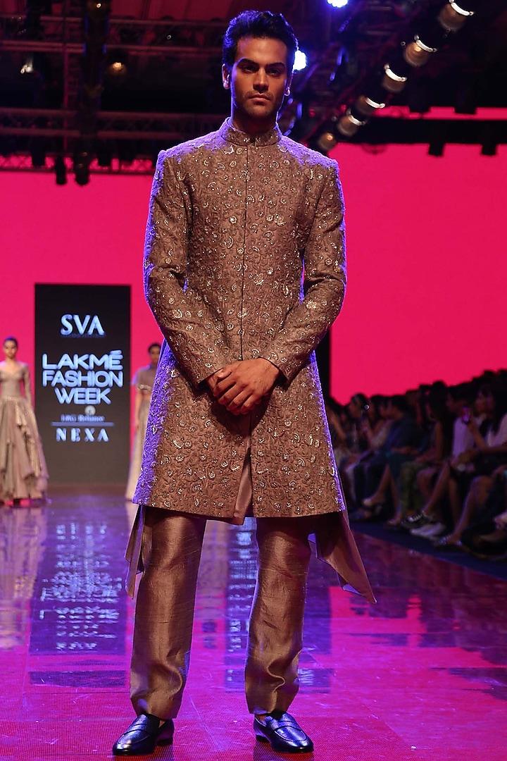Grey Embroidered Sherwani Set by SVA BY SONAM & PARAS MODI Men