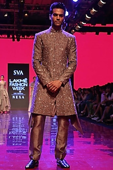 Grey Embroidered Sherwani Set by SVA BY SONAM & PARAS MODI Men