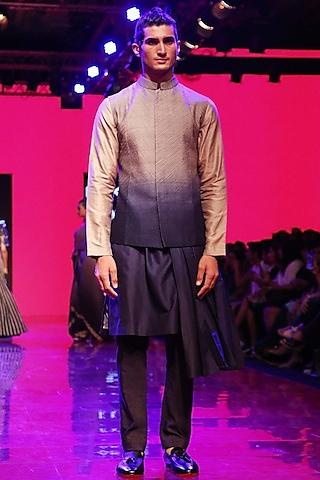Grey To Blue Ombre Embroidered Bundi Jacket by SVA BY SONAM & PARAS MODI Men