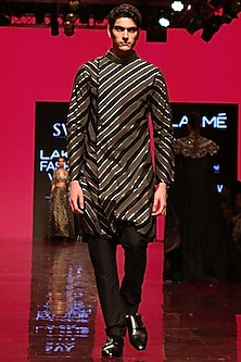 Black Chevron Angrakha Kurta Set by SVA BY SONAM & PARAS MODI Men