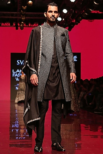 Black Aari Quilted Sherwani Set by SVA BY SONAM & PARAS MODI Men