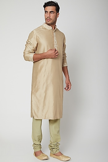 Beige Embroidered Silk Kurta by SVA BY SONAM & PARAS MODI Men