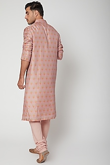 Old Rose Orange Printed Kurta by SVA BY SONAM & PARAS MODI Men