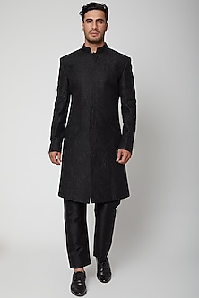 Black Silk Embroidered Sherwani by SVA BY SONAM & PARAS MODI Men