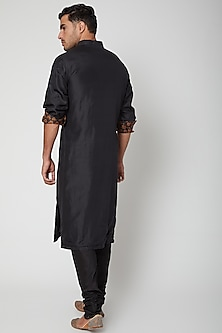 Black Printed Silk Kurta by SVA BY SONAM & PARAS MODI Men