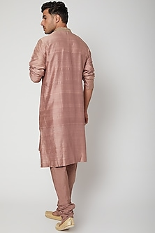 Old Rose Kurta With Embroidered Collar by SVA BY SONAM & PARAS MODI Men
