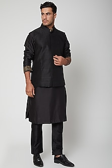 Black Raw Silk Bundi Jacket by SVA BY SONAM & PARAS MODI Men